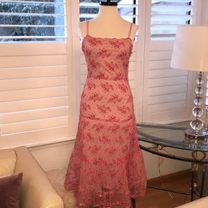 Betsey Johnson pink lace tulle dress 8